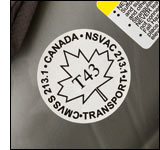 Photo of a Transport Canada compliance label